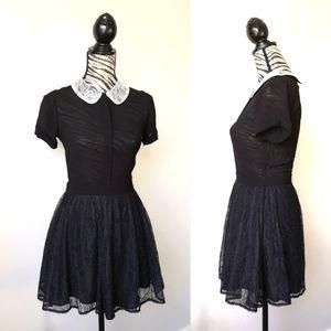 Reformation Gothic lace mini dress
